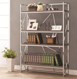 Bookcases Contemporary Chrome/Weathered Grey Bookcase with Abstract Detailing