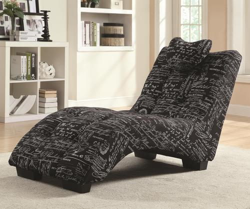 Coaster accent seating chaise lounger with body contoured seat for Accent traditional chaise by coaster