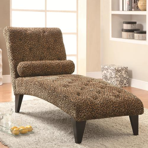 Coaster accent seating leopard print living room chaise for Accent traditional chaise by coaster
