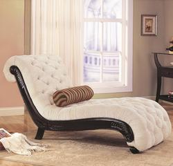 Accent Seating Traditional Chaise with Button Tufting and Carved Wood Trim