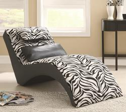 Accent Seating Modern Zebra Print Furniture Chaise for Living Room Comfort