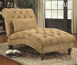Accent Seating Golden Toned Accent Chaise with Elegant Traditional Style