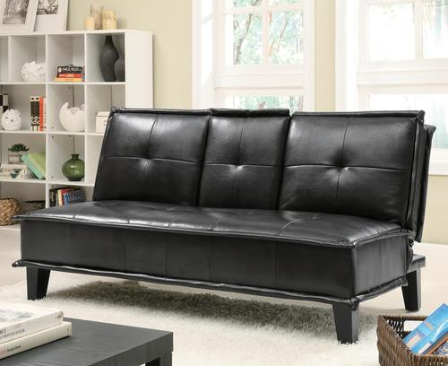 Coaster Sofa Beds And Futons Contemporary Black Vinyl Sofa Bed With