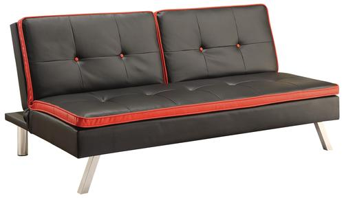 Coaster sofa beds and futons sofa bed in black leatherette for Red and black sofa bed