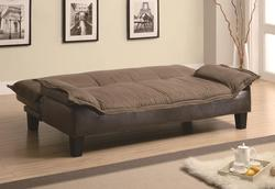 Sofa Beds and Futons Ratchet Back Sofa Bed with Dark Brown Leather-Like Base