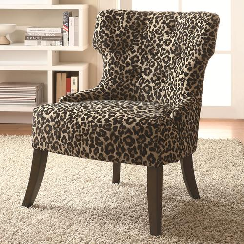 Accent Seating Safari Inspired Leopard Print Accent Chair With Lean Tapered  Legs