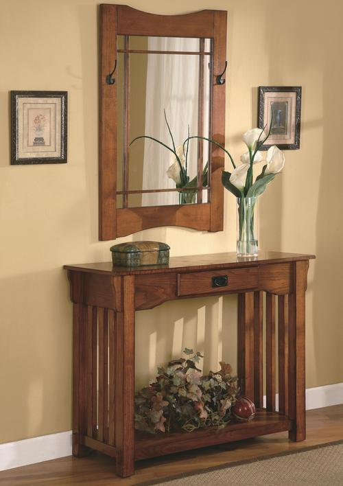 Accent Tables Mission Style Accent Table U0026 Framed Mirror Set
