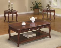 3 Piece Occasional Table Sets Traditional 3 Piece Occasional Table Set with Parquet Top