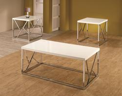 3 Piece Occasional Table Sets Set of 3 High-Gloss Occasional Tables with White Tops & Decorative Chrome Bases