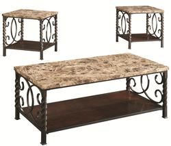 3 Piece Occasional Table Sets 3PC Occasional Set w/ Faux Marble Top