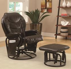 Recliners with Ottomans Casual Styled Reclining Glider Rocker with Ottoman
