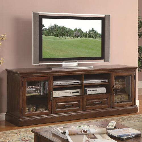 Coaster Tv Stands Casual Tv Console With Glass Doors And Cherry Wood