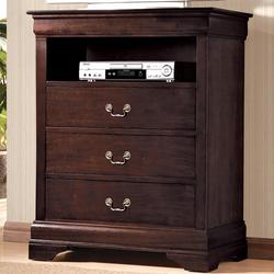 B3800 Louis Phillipe Media Chest with 3 Drawers and 1 Storage Compartment
