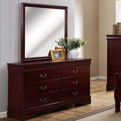 B3800 Louis Phillipe 6 Drawer Dresser with Square Mirror