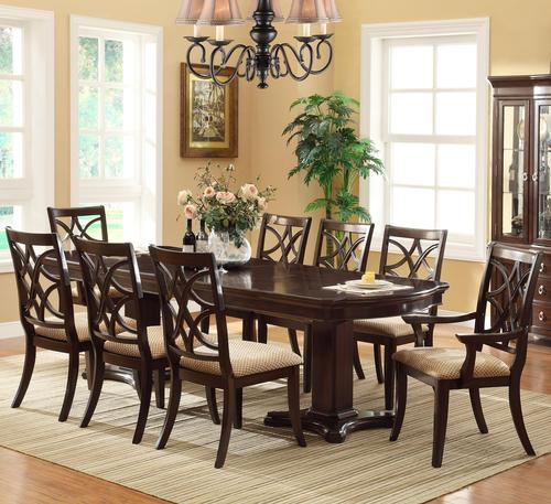 Crown Mark Katherine 9 Piece Pedestal Table Upholstered Dining Chairs Set