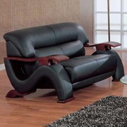 2033 Contemporary Leather Love Seat with Exposed Wood Arms