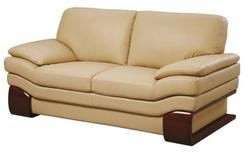 728 Modern Leather Loveseat with Wood Accents
