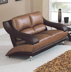 928 Contemporary Leather Love Seat with Metal Feet