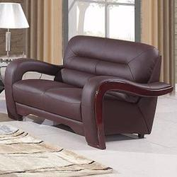 992 Modern Leather Lovesat with Curved Arms