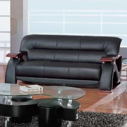 2033 Contemporary Leather Sofa with Exposed Wood Arms