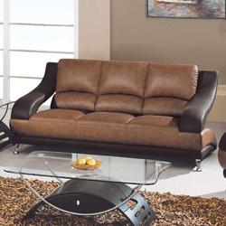928 Contemporary Leather Sofa with Metal Feet
