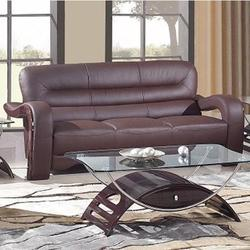 992 Modern Leather Sofa with Curved Arms