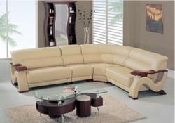 2033 Contemporary Sectional with Exposed Wood Arms