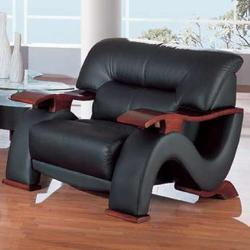 2033 Contemporary Leather Chair with Exposed Wood Arms