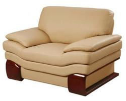 728 Modern Leather Chair with Wood Accents