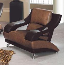 928 Contemporary Leather Chair with Metal Feet