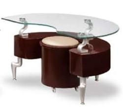 288 Contemporary End Table with Stool and Glass Top