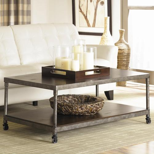 hammary structure metal coffee table w lower shelf. Black Bedroom Furniture Sets. Home Design Ideas