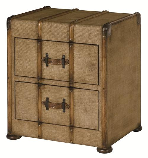 Hidden Treasures 2 Drawer Canvas Accent With Gemelina Wood Trim And Bun Feet