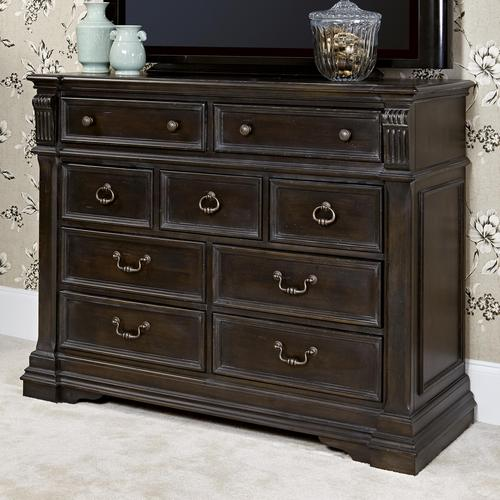 hammary manchester court 9-drawer media dresser with 2 drop front