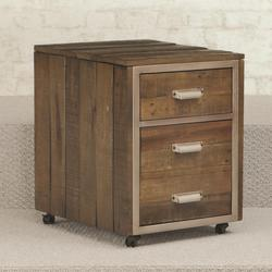 Flashback 2 Drawer Mobile File Cabinet with Metal Trim and Casters