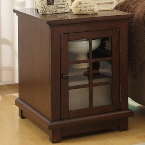 Homelegance Bellamy End Table With Glass Door With Shelf