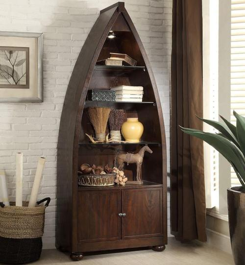 3522 Boat Shaped Bookcase With 3 Shelves