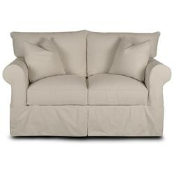 Jenny Slipcover Loveseat With Rolled Arms And Skirt