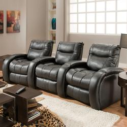 Blitz Three Seater Reclining Theater Seating With Cup Holders In Console  Armrests