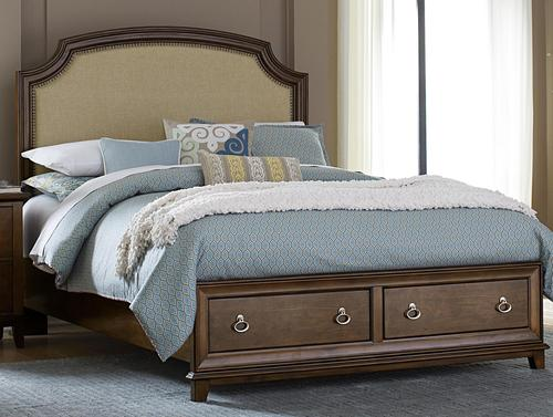 Liberty furniture midland park upholstered queen storage for Queen upholstered bed with drawers