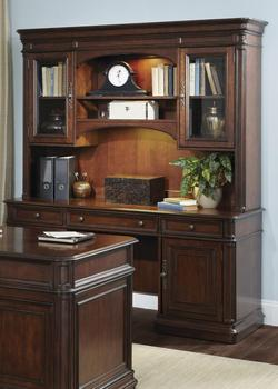 Brayton Manor Jr Executive Traditional Credenza and Hutch with Framed Glass Doors