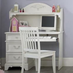 Arielle Youth Bedroom Traditional Single Pedestal Student Desk & Arched Hutch