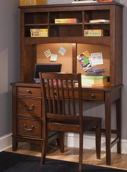 Chelsea Square Youth Single Pedestal Student Desk with Hutch