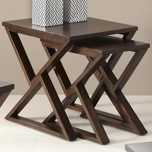 Madison 2 Piece Nesting End Table With Triangular Shaped Legs