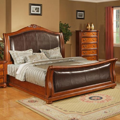 upholstered leather sleigh bed. 0243 CA King Faux Leather Upholstered Sleigh Bed With Acanthus Leaf Carving L