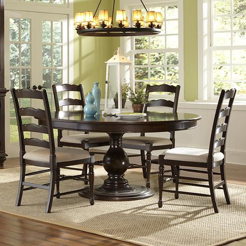 magnussen home loren 5 piece round table and chairs set. Black Bedroom Furniture Sets. Home Design Ideas