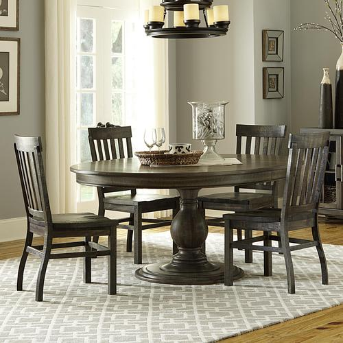 Magnussen Home Bellamy Transitional Five Piece Weathered Gray Dining Set Best Magnussen Dining Room Furniture