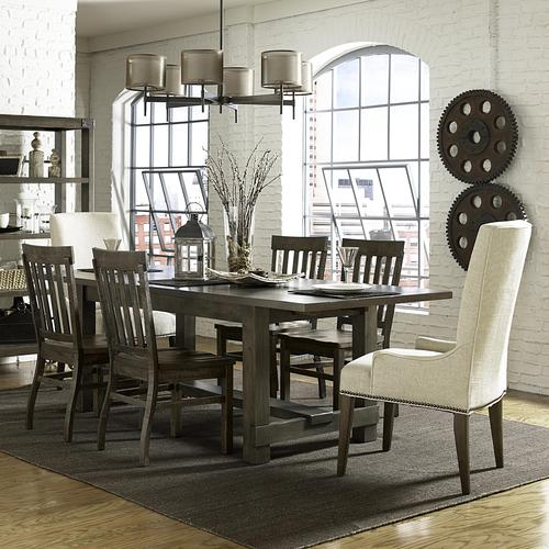 Karlin Seven Piece Dining Set With Rectangular Table And Upholstered Host Chairs