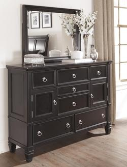 Greensburg Transitional Dresser with 2 Doors and 7 Drawers & Mirror