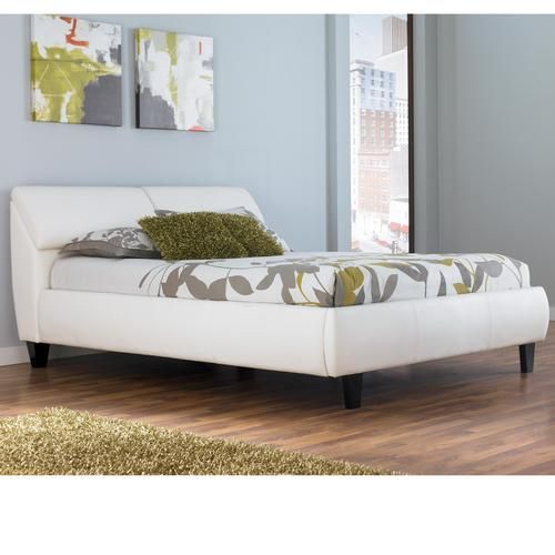 Millennium jansey metro modern white queen bed with for Headboard storage unit